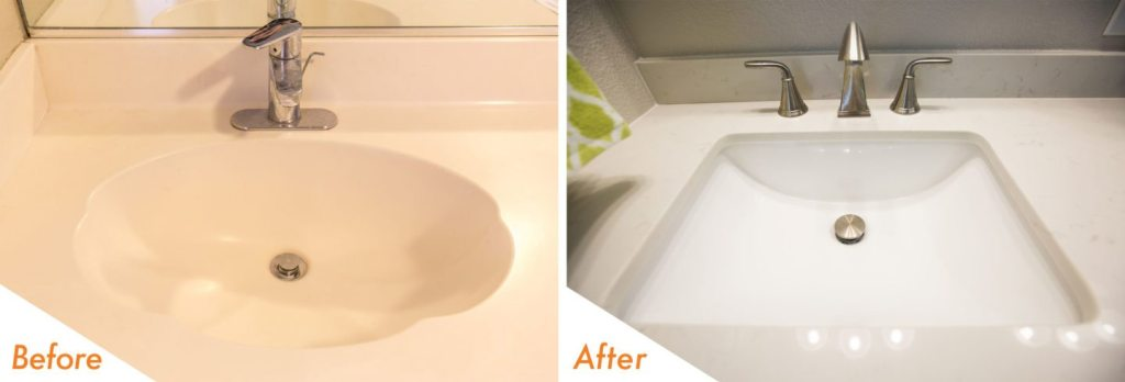 before and after remodeled sink in Manteca.