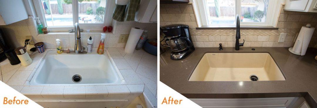 new backsplash, sink and fixtures.