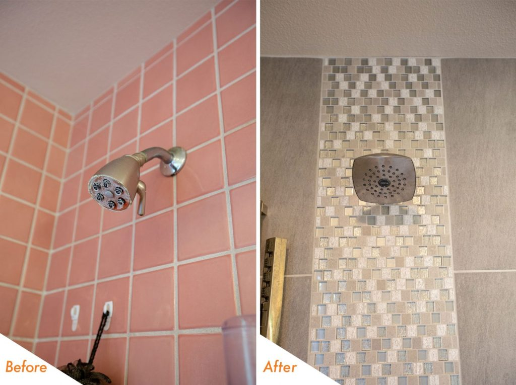 Rain-fall shower head and new tile.