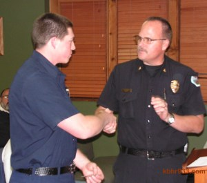 """In presenting PCF Justin Fluke with the Lifesaver Ribbon, BBC Fire Chief Jeff Willis said, """"I congratulate you. You served us well."""""""