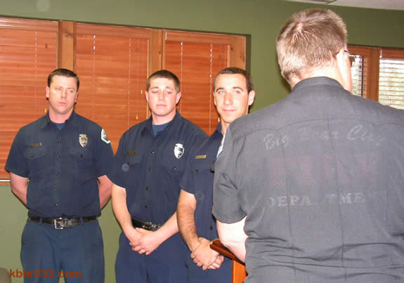 The department's first candidates in the Apprentice Firefighter Program--Roger LaVoire, Justin Fluke and Robert Whitmore--are sworn in at the April 20 CSD meeting.