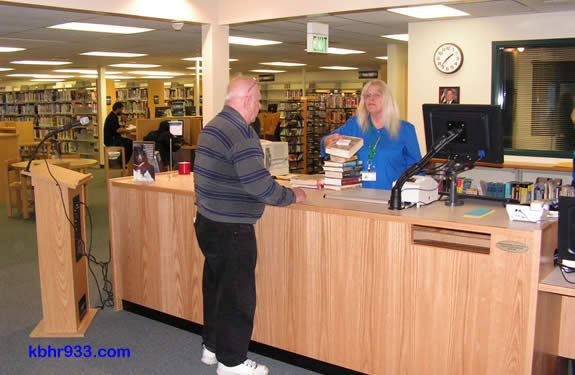 The Big Bear Library's new circulation desk was unveiled this morning, and is already being put to use.