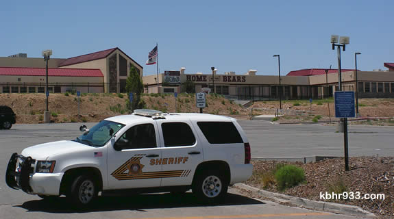 Big Bear High School was evacuated in the noon hour today, following the second bomb threat in as many school days.
