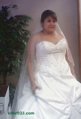 Elena Martinez had, earlier this year, modeled her wedding gown for coworkers at Big Bear Cool Cabins, who shared this photo with KBHR. Her husband, Francisco, is employed by Spa Guy.