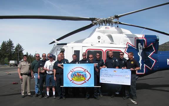 The Firefighters Quest team was greeted by the CHP, the Big Bear City Fire Department, and Mark Durban on behalf of the Bear Valley Firemen's Association on Monday morning.