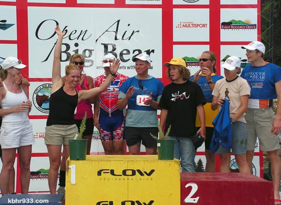 San Diego athlete Jasmine Kall celebrates her call to the podium; she is now ranked third in the women's division of the Conquer the Bear series. The fifth and final event is the September 12 Run the Bear.