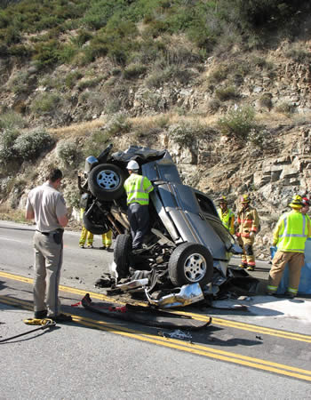 The driver of this Silverado did not survive the 200 ft. drop to the lower portion of Highway 18 (near Crestline).