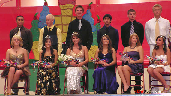 The Bears's homecoming court (with their escorts, from left) Amber Carpenter, Rubi Bravo, Lauren Schour, Ashley Rolston, Stephanie Norton and Yuri Lopez.