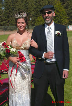 The Class of 2010's homecoming queen Lauren Schour with dad Steve, principal at Chautauqua High School.