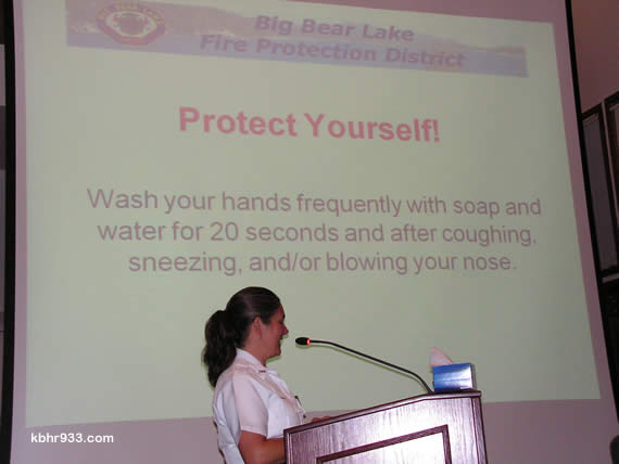 Big Bear Lake Fire Department's Michelle Caldwell gave City Council an update on the H1N1 virus this week--complete wih a box of tissues for emphasis. As a vaccine for the virus, formerly known as swine flu, is not yet available, Caldwell encourages everyone to take good care of themselves, with rest, proper diet and exercise.