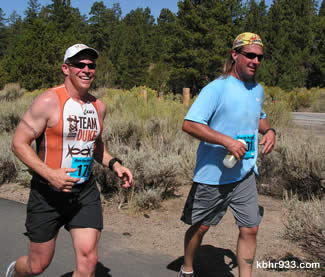Locals Jeff Villepique and Dave Emig ran together for the first leg of the marathon, along the Alpine Pedal Path.