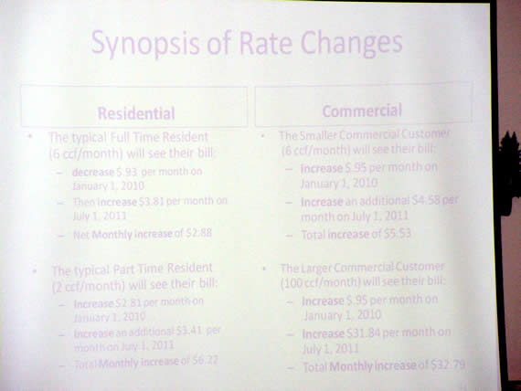 Rate changes for DWP customers were outlined in a Power Point presentation at Tuesday's protest hearing.