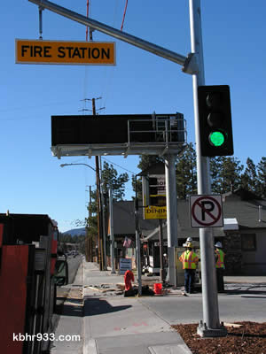 CalTrans engineer Joseph Obadike was assisted in the CMS installation project by local electrician Craig Gildart, who tells KBHR that his grandfather Wesley Gildart wired the lanterns for Big Bear City's Twin Bears on the Boulevard back in the '60s.