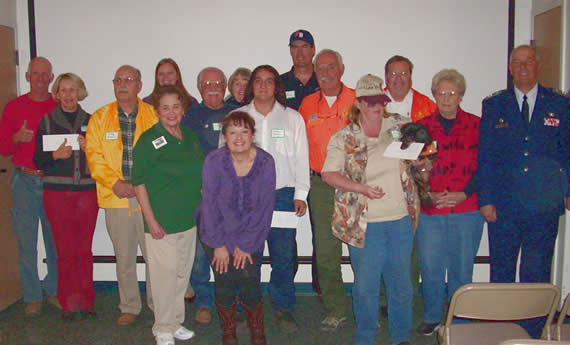 Happy recipients of the Big Bear Lake Antique Car Club's annual distribution of Fun Run proceeds. (Photo courtesy BBLACC)