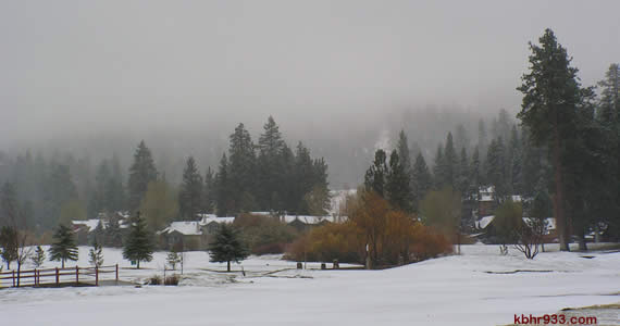 Our Friday the 13th started with a blanket of snow (here, at the golf course, with Bear Mountain in the background).