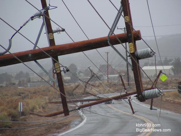 Big Bear wind sheared power poles