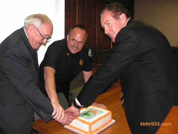 Big Bear City Fire Chief Jeff Willis (center) celebrated the East Valley's distinction as a Firewise community in March, alongside CSD President John Day and past President Rick Ollila--the two have alternated as president for four years; Director Jeff Newsome was president in 2004 and 2005.