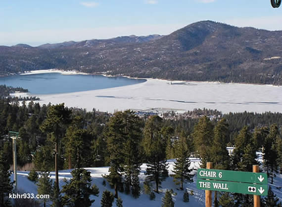 Black diamonds, anyone? Chair 6 at Snow Summit is now open, allowing access to Olympic and the Wall. (Photo taken in February, as we have less ice on Big Bear Lake this week.)