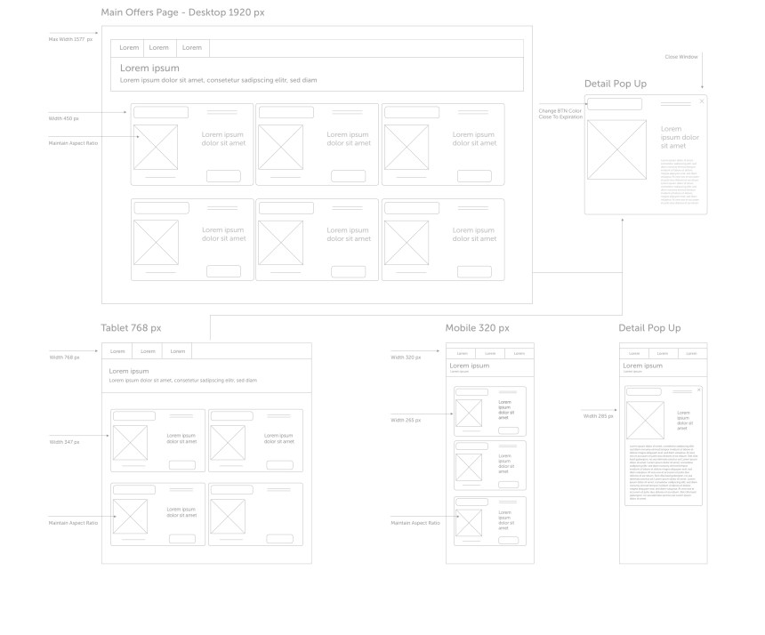 Desktop / Tablet / Mobile Wireframes