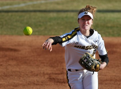 Sami Fagan throws to first for an out in Missouri's second game in the Mizzou Tournament on Saturday, March 22, 2014 in Columbia, Mo.