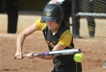 Taylor Gadbois, at bat in the first inning, had two hits in the game, giving her a 29-game hitting streak.