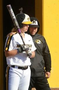 Missouri's Angela Randazzo talks with coach Ehren Earleywine in the first game.