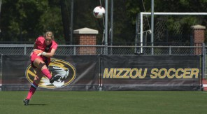 Missouri goalie McKenzie Sauerwein kicks the ball into play during the Tigers' 1-0 win over Tennessee-Martin on Sunday, Sept. 7, 2014, at Walton Stadium in Columbia, Missouri. (Greg Dailey)