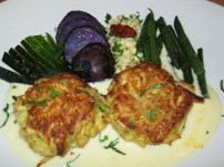 Crab cakes, and purple potatoes.