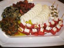 Eggplant, mozzarella, watermelon with feta, shrimp dip.