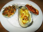 Trio of baked oysters
