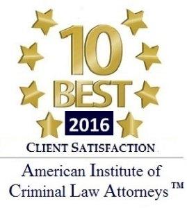2016 American Institute of Criminal Law Attorneys 10 Best