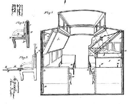 George Pullman's 1865 sketch for patent #49,992, via midcontinent.org.