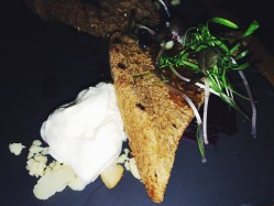 CONFIT BEETROOT with burrata cheese, rye bread, macadamia and honey (v)