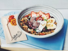 Amazonia Acai bowls with a special little bliss ball treat!