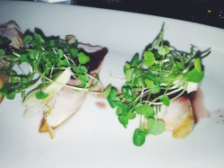 APPLE WOOD SMOKED CHICKEN with watercress, fennel and red wine poached pears (gf)