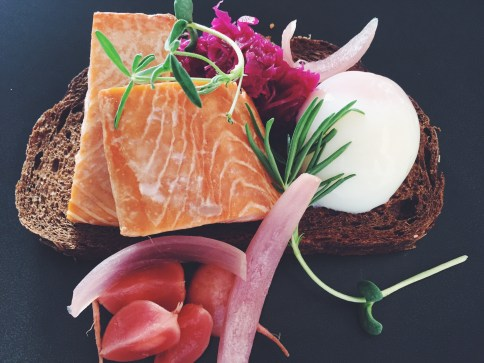 Salmon Fillets, Rye Toast, Poached Egg and Pickled Vegetables