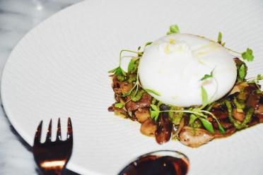 Vanella Burrata | Forest mushrooms, salsa verde, rosemary flatbread (v)