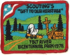 Boy Scout project badge, 1976. Series 468, Park System History Files,, Box 1, Folder 63, King County Archives.