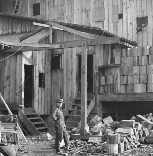 Detail of photograph of Sobey Manufacturing Shingle Mill, 1915. Item 51879, Series 2613-07, Engineering Department Photographic Negatives, Seattle Municipal Archives.