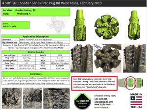 West Texas Frac Plug February 2019 Run Report