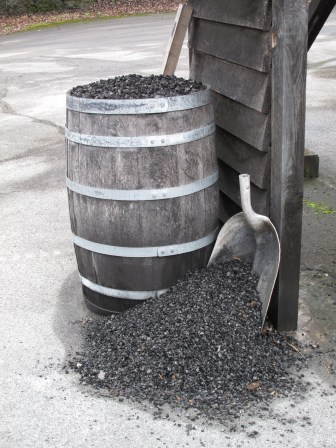 Charcoal for filtering the whiskey.