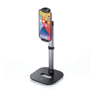 【新商品】伸縮アームで高さ調節ができる、テレワークでのオンライン会議に最適なスマートフォンスタンド「PDA-STN46BK」が発売