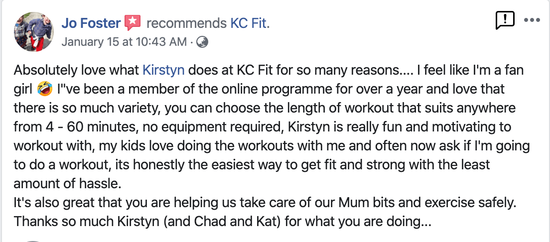 Jo Foster Testimonial for KC Fit @ HOME