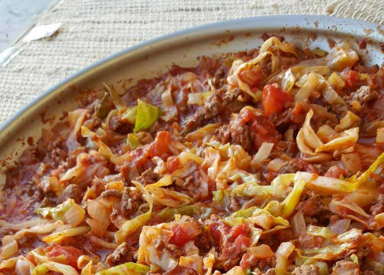 One Pan Grass-fed Beef & Cabbage Skillet