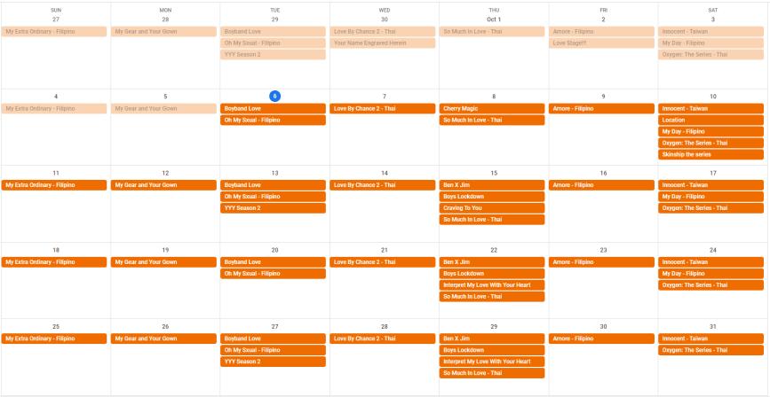 Bl and Bubbles Calendar - October 2020