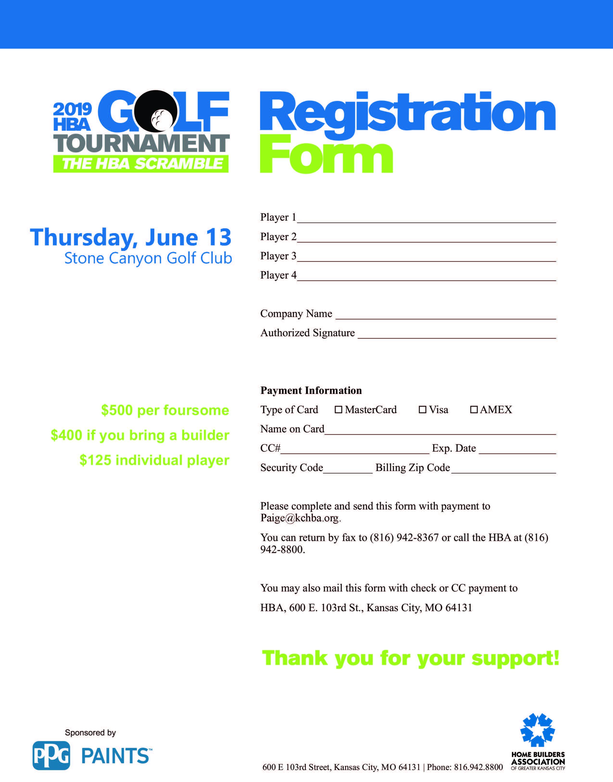 Free golf tournament registration form template. 2019 Golf Registration Form Final Home Builders Association Of Greater Kansas City