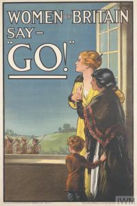 Women of Britain Say 'Go!' (Art.IWM PST 2763) whole: the image occupies the whole, with the title integrated and positioned across the top and upper left, in white outlined black. All held within a black border. image: a woman stands at an open window, accompanied by her daughter and son, watching British soldiers march past. In background are green hills and a clear blue sky. text: E. V. KEALEY. WOMEN OF BRITAIN SAY - 'GO!' Published by the ... Copyright: © IWM. Original Source: http://www.iwm.org.uk/collections/item/object/14592