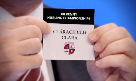 Mockup of Clara's name coming out of the Kilkenny senior hurling championship draw at Nowlan Park. Photo: Fictional