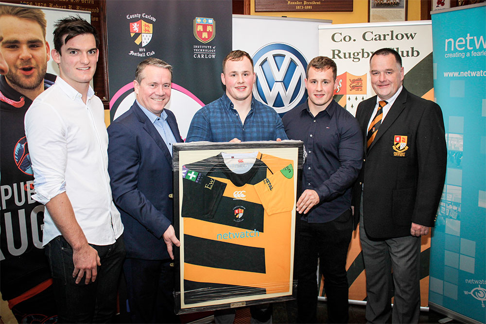 L-R: Tom Daly, David Walsh, Ed Byrne, Bryan Byrne, Pat Sleator with the new County Carlow Rugby Jersey . Pic: Stephen Byrne