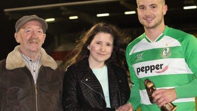 Mikey Drennan pictured receiving his Alan Nolan Golden Boot award from family members of the late Alan Nipper Nolan. Photo: @shamrockrovers/Twitter